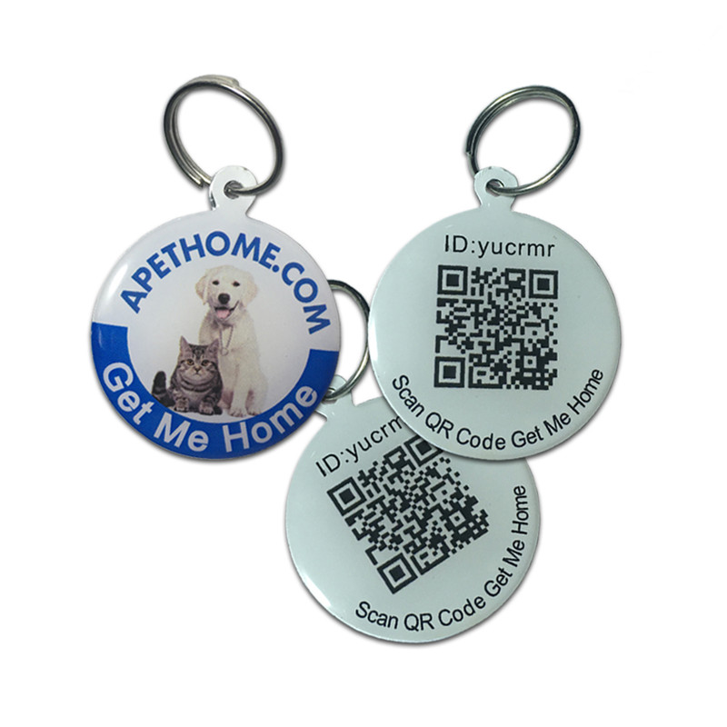 Εξατομικευμένες ετικέτες σκύλου και ετικέτες γάτας Ανοξείδωτο Smart Pet ID ετικέτας QR Code Scanned GPS Location