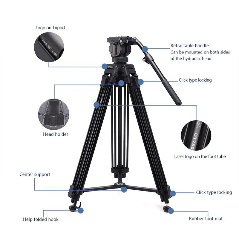 DIAT νέα θήκη υποστήριξης βιντεοκάμερας DT750 τρία τμήματα 1,7 μέτρα ψηλό τρίποδο DSLR υψηλής αντοχής