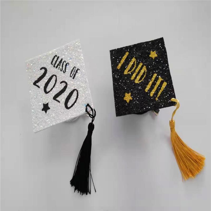 Λευκό καπάκι Grad με Διαφορά Χρώμα Glitter Graduation Party Hat