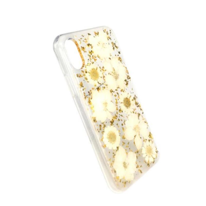 Άμεσο iPhone κατασκευαστή με κόλλα χρυσού φύλλου φύλλων αληθινού αποξηραμένου λουλουδιού με ανάγλυφη θήκη TPU μήλο